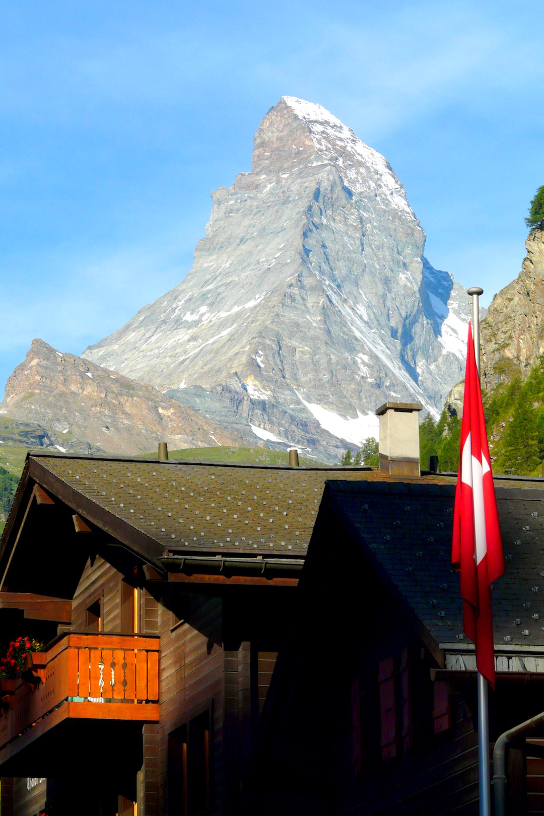 Matterhorn's mountain viewed from Zermatt in Switzerland