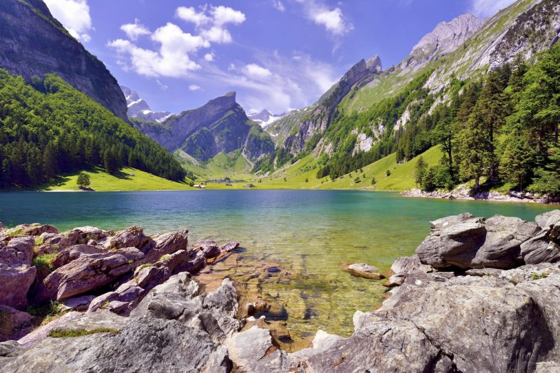 Summer at Seealpsee in Alpstein with mountain S?ntis in the back. The colorful lake is surrounded by trees.